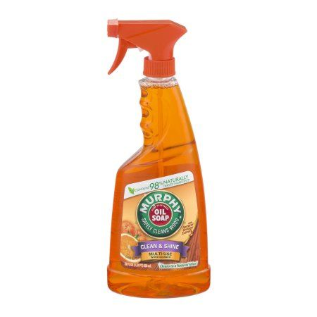 Murphy Oil Soap Clean and Shine Multi-Use Spray, Orange, 22 Fluid Ounce • This is THE BEST for cleaning all things wood - furniture, baseboards, windowsills. It is also recommended for nonfood surfaces such as vinyl, marble and a long list of other things. Add to it the fact that it is 98% natural and smells like oranges - Love!