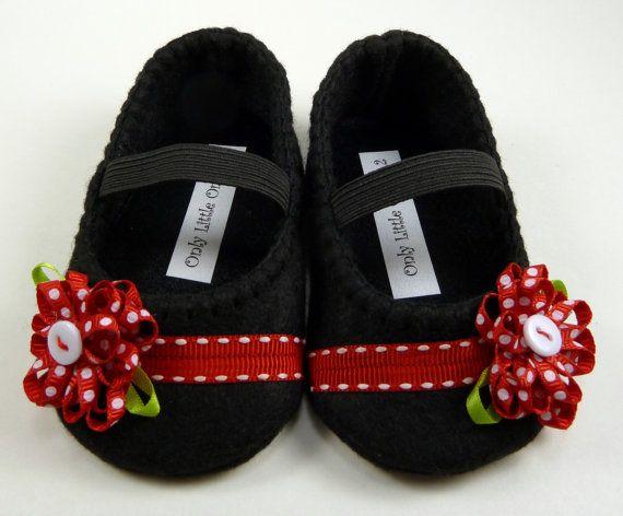 Bambino scarpe rosso e nero mary jane di OnlyLittleOnce su Etsy