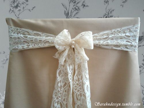 Lace & Pearl wedding chair sash. Designed by Sarahndesign.tumb...