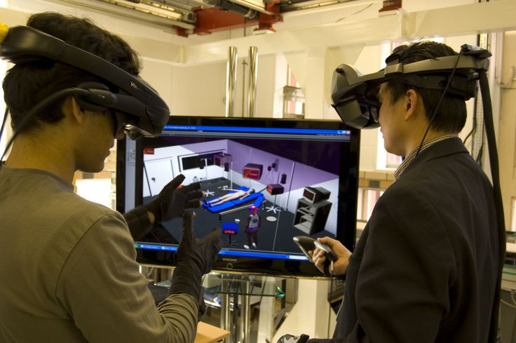 Showing VR being used for surgical training