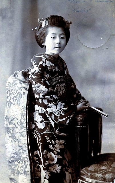 "Maiko Girl 1900    A Meiji Era portrait of a Maiko Girl. In the top right-hand corner is written in faint blue ink ""This is a beautiful Maiko""."