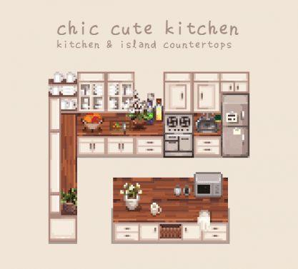 Chic Cute Kitchen | Stardew valley, Stardew farms on Kitchen Counter Animal Crossing  id=73555
