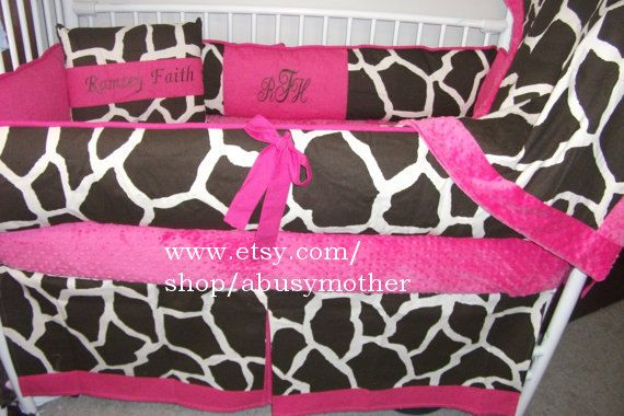 Giraffe Hot pink 3 PIECE  Bumper Pad Baby Crib Set by abusymother, $50.00