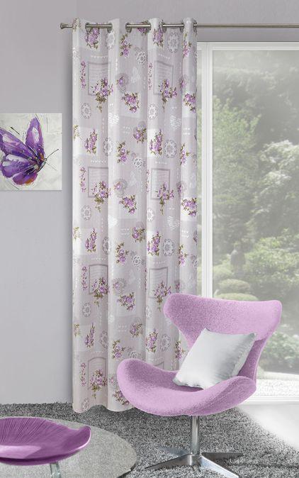 Fioletowe kwiaty zasłona do sypialni w kolorze białym