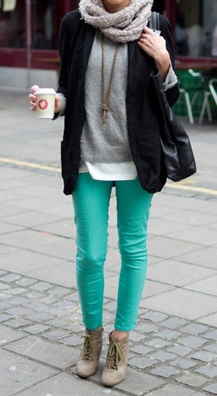 colored skinny jeans, booties, layers, scarf, fall outfit