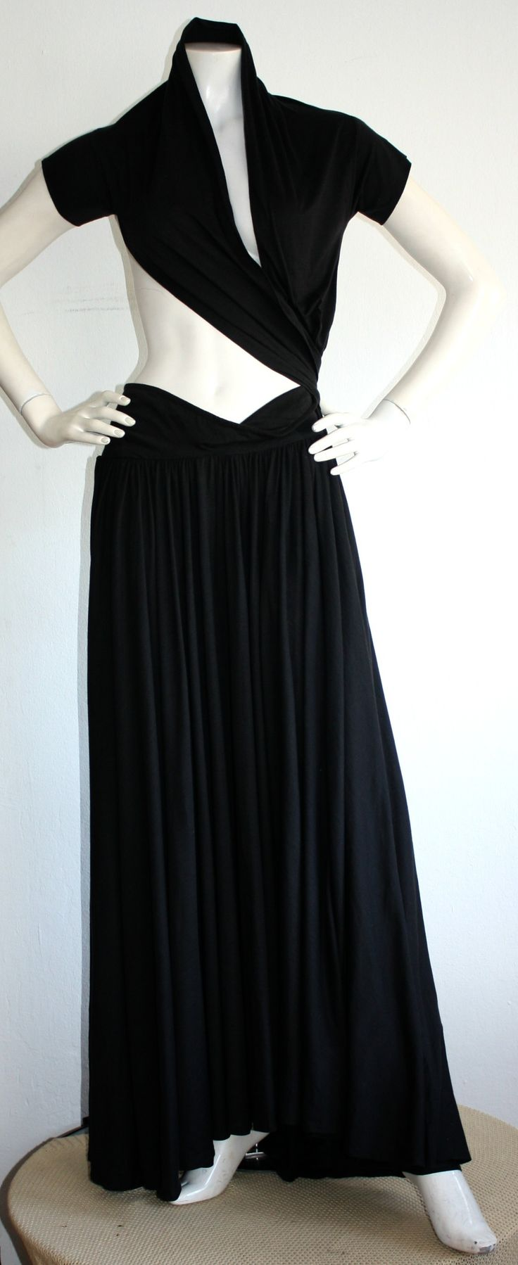 Extremely Rare Vintage Romeo Gigli Black Wrap Dress Musuem Worthy | From a collection of rare vintage evening dresses at https://www.1stdibs.com/fashion/clothing/evening-dresses/