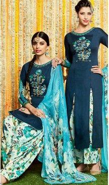 Punjabi Patiala Style Straight Cut Cotton Patiyala Suits in Navy Blue…