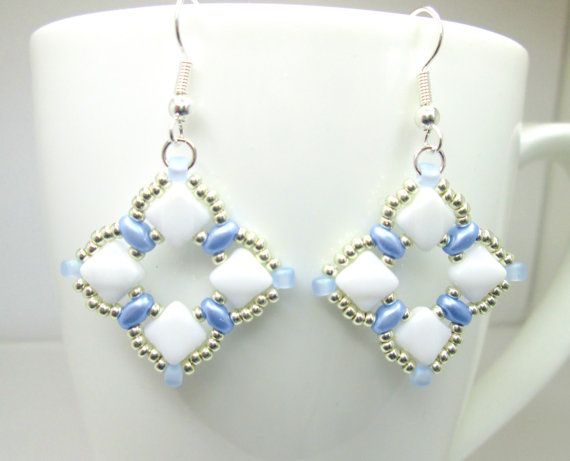 Blue and white silky bead beadwoven earrings, white jewelry, diamond shaped, light blue jewellery, ER010