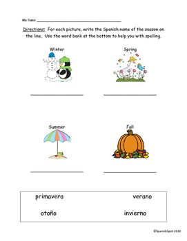Free!!! Spanish worksheet / quiz- seasons & monthsAnswer key included.Clip art by MyCuteGraphicshttp://www.mycutegraphics.com/
