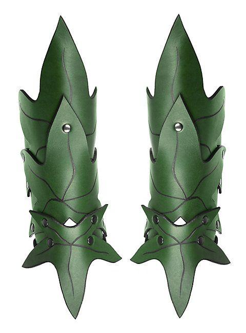 Waldelfe Armschienen grün  #leather #vambraces #green