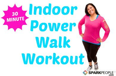 Don't let dark days, wet weather or cold temps keep you from your walk. Try this fun 30-minute indoor walking workout from your living room! | via @SparkPeople #fitness #exercise #walk #noexcuses