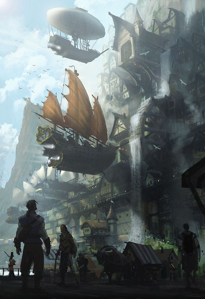 A very awesome cliff-side #steampunk city, with fantasy airships! Illustration by Jan Ditlev, http://janditlev.deviantart.com/art/The-city-of-Alkon-254153489