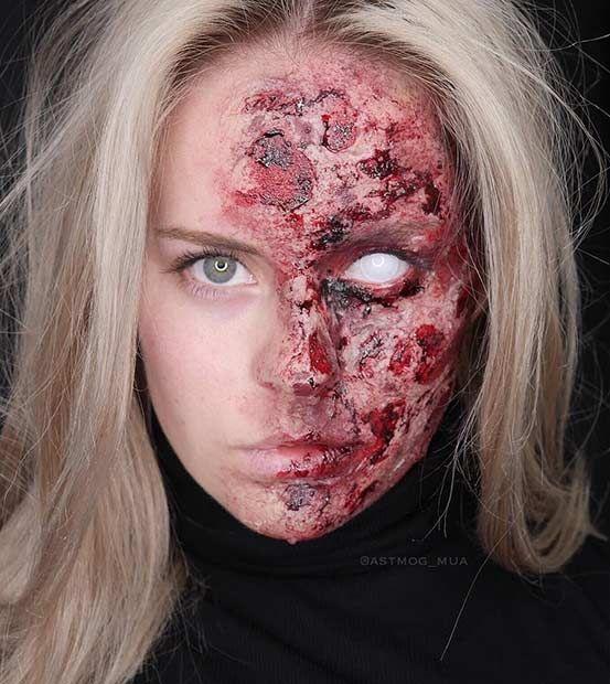 Half Burned Face Makeup Look
