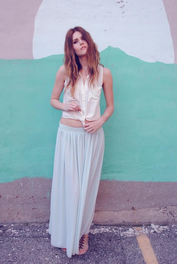 love, blair: tie waist shirt + mint skirts
