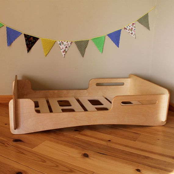 Gorgeous from Etsy: Natural Toddler Bed Montessori Bed Crib sized by HighlandWood, $400.00