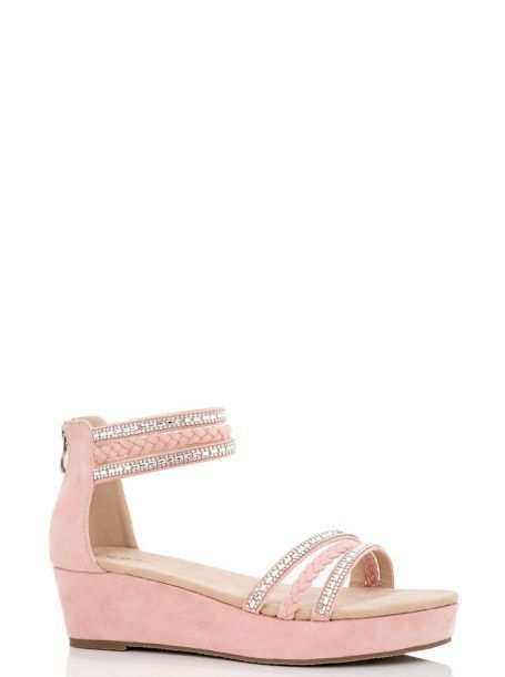 Pink Diamante Rope Trim Wedges