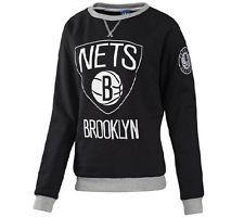 NEU adidas Pullover Clubwear NBA Basketball Brooklyn Nets Sweatshirt Schwarz