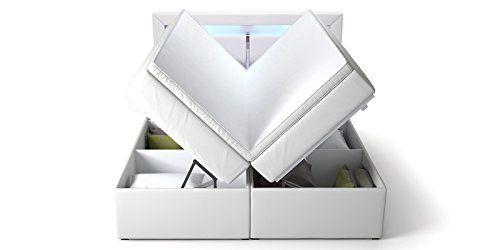 Boxspringbett mit Bettkasten weiß Sofia2 LED Beleuchtung Doppelbett Hotelbett Topper (180x200cm)
