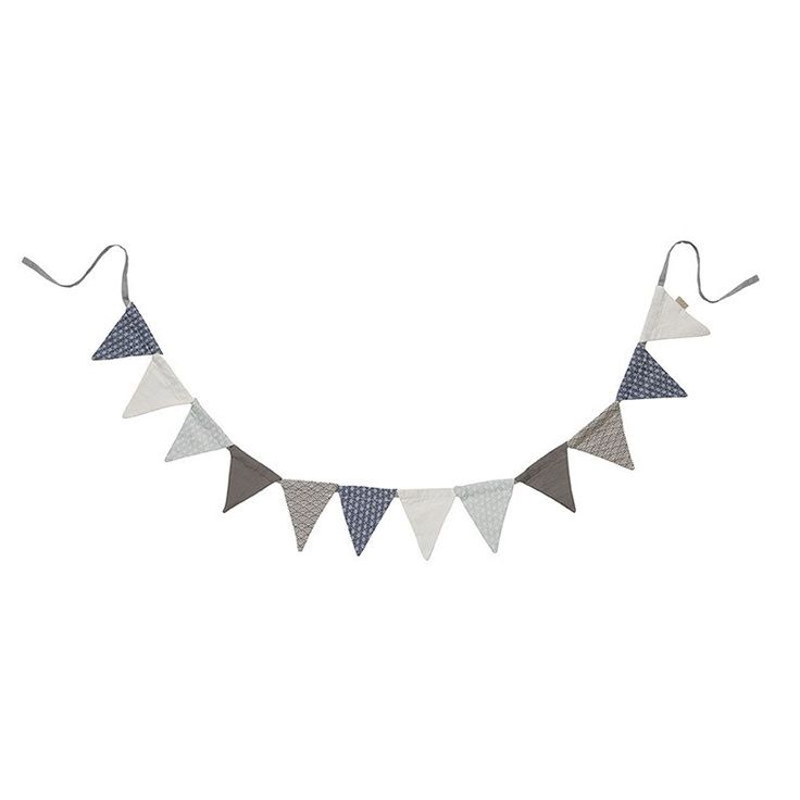 String of Bunting Flags. 12 FLAGS CAMCAM COPENHAGEN. PERFECT NURSERY DECOR. MADE FROM ORGANIC COTTON  https://www.claudeandco.co.uk/collections/nursery-wall/products/string-of-nursery-wall-flags