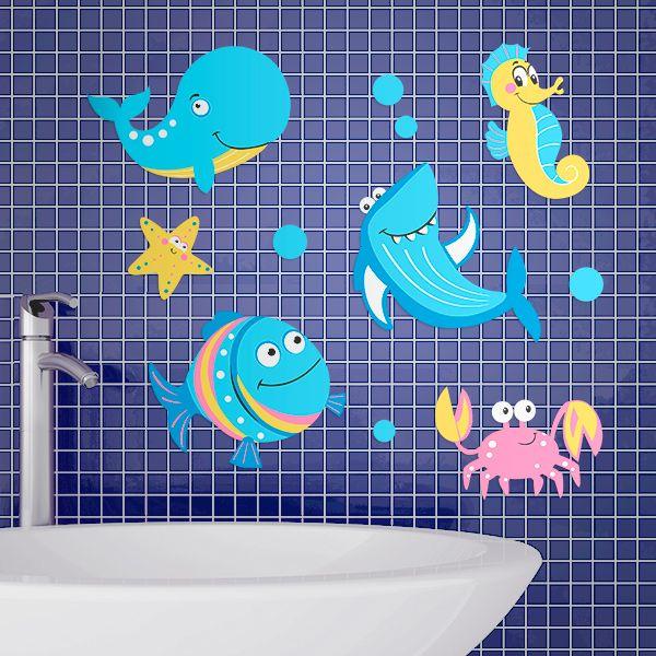 """Наклейки для ванной """"Подводный мир"""", 10 шт."""