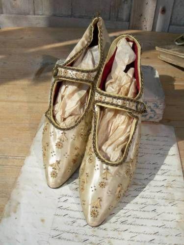 Изысканный пара старинный французский шелк ручной вышивкой и бисером свадебные туфли | eBay