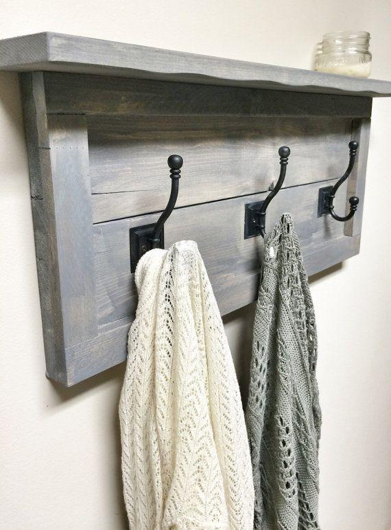 Rustic Wooden Entryway Grey Coat Rack Rustic by cherrytreegallery