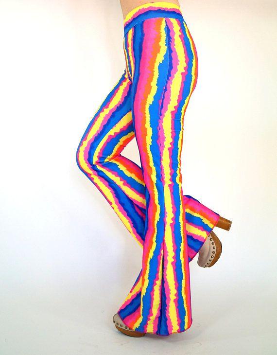 Boho tie dye print stretchy bell bottoms-Hippie pant-Boho