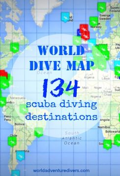 World Dive Map by World Adventure Divers - 134 scuba diving destinations - the Best world's adventure diving spots!