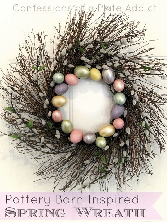 Spring WreathDesign Inspiration, Pottery Barn Inspired, Plates Addict, Easter Wreaths, Easter Eggs, Pottery Barns Inspiration, Spring Wreaths, Addict Pottery, Inspiration Spring