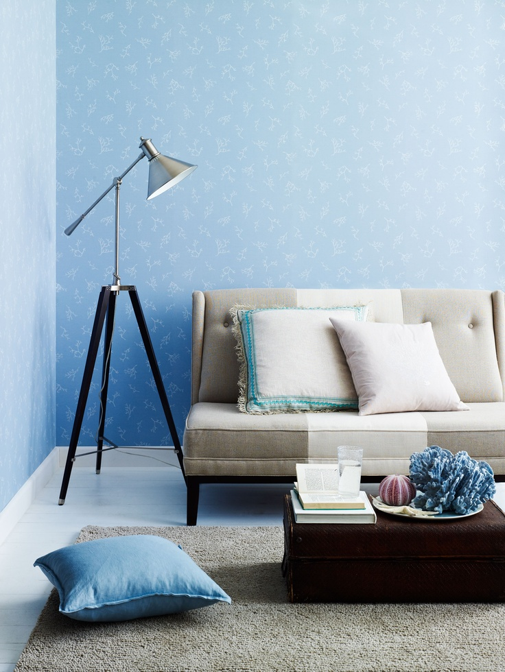 Coral wallpaper in White on Dusty Blue