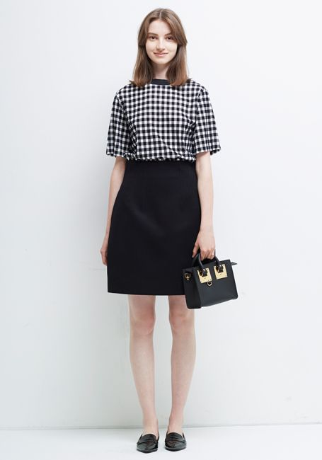 Le Ciel Bleu Gingham check Tee and Spatial Skirt