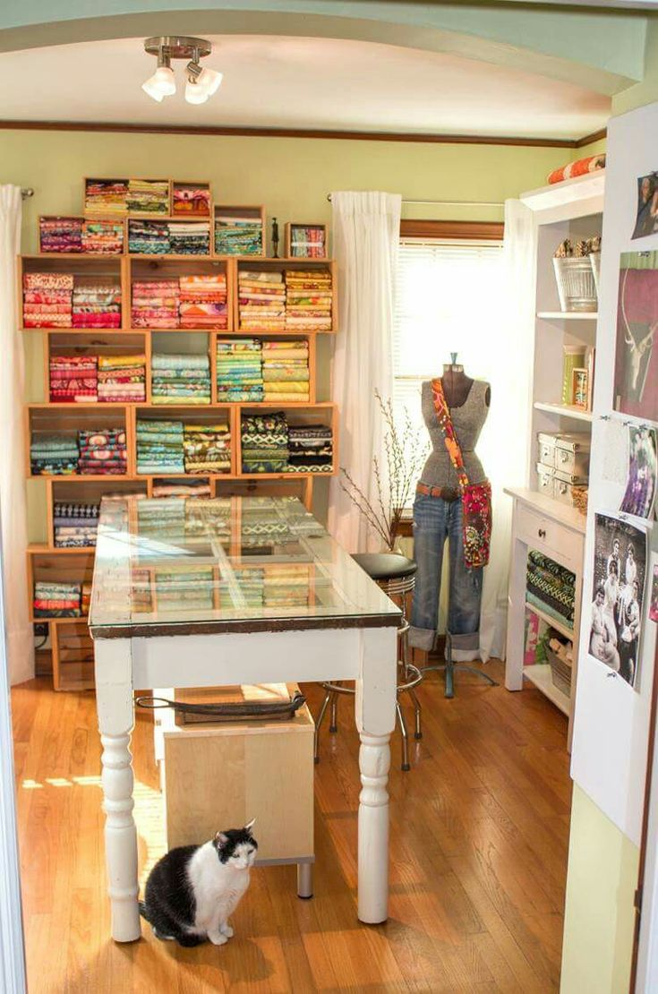 What a fab sewing studio  I want it1494 best sewing room decorating ideas images on Pinterest   Craft  . Pinterest Sewing Ideas For The Home. Home Design Ideas