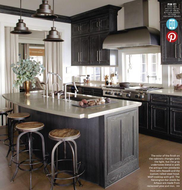 grey cabinets, window behind stove