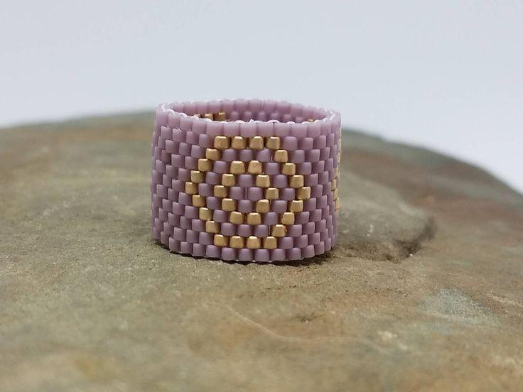 Peyote Seed Bead Ring, Matte Purple Champagne Ring, Opaque Purple Champagne Color Delica Beads, Seed Bead Ring, Peyote Ring, Band, Rings by jerzeygems on Etsy
