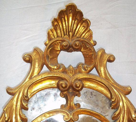 Coppia specchi in legno 1950 foglia d'oro by Antiquitaly on Etsy