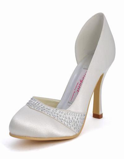 Elegant, flott mode vackra handgjorda runda vita högklackade bröllop skor satin EP11020