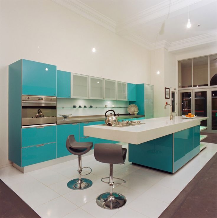 Бирюзовые кухонные шкафы