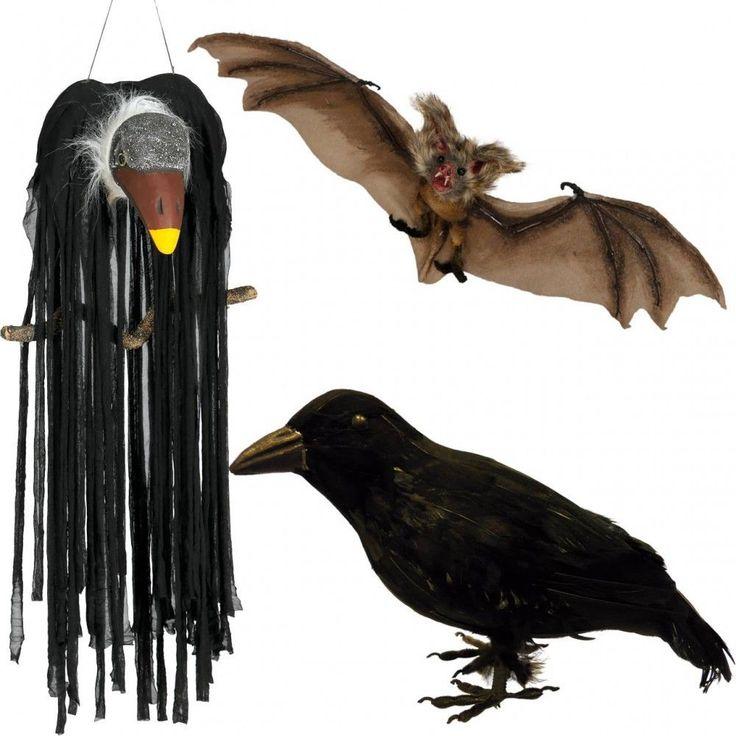 Halloween Deko Figuren Objekte Krähe Geier Rabe Fledermaus Hängedeko zur Auswahl