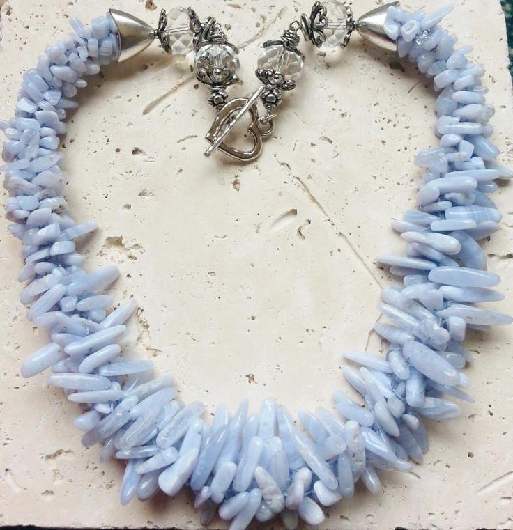 Blue Lace Agate - Jewelry creation by Rhae Clore dba Gemstone Glam