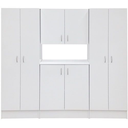 BUY RIGHT Storage Cupboard Pack White SKU# !88513  4 melamine cupboards. Ready to assemble. H: 1805mm, W: 1987mm, D: 411mm. Made in New Zealand.