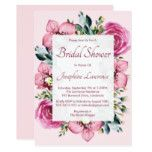 Pink Orchids & Roses Watercolor Bridal Shower Card