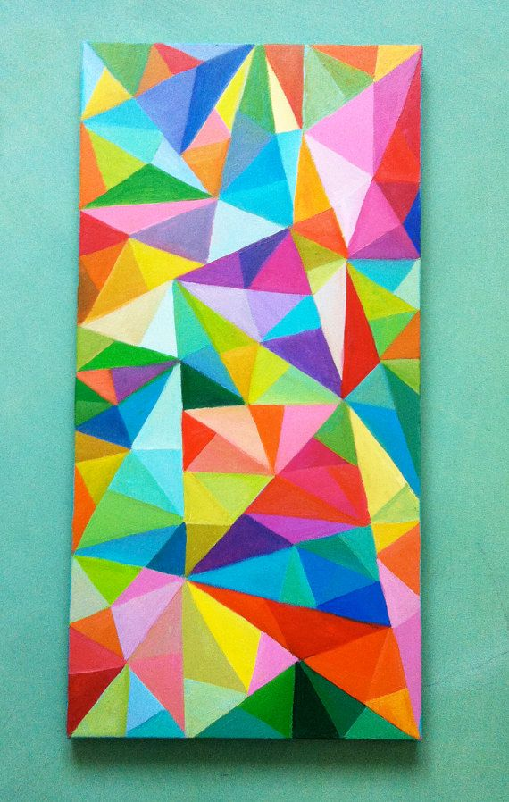 Abstract Painting / Colored Triangles / acrylic painting/ blue red yellow green pink orange Colors/Home Decor/ Mosaic