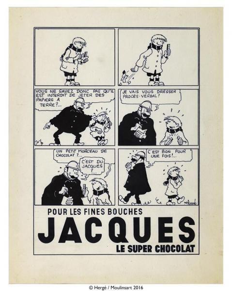 """Hergé – Quick et Flupke – Planche originale publicitaire pour le chocolatier[...], mis en vente lors de la vente """"BD, Bijoux & Argenterie, Médailles & Décorations, Graphisme & Design du XXème siècle, Souvenirs Historiques et de Voyage"""" à Haynault sprl   Auction.fr"""