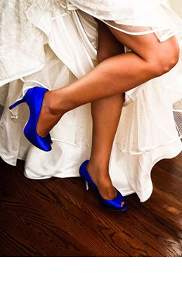 "SATC blue silk peep toe pumps with 4"" heel and .5"" platform"