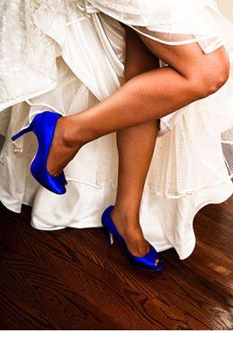 "SATC blue silk peep toe pumps with 4"" heel and .5"" platform"