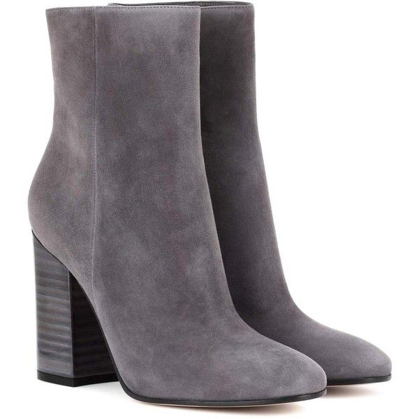Gianvito Rossi Suede Ankle Boots ($1,020) ❤ liked on Polyvore featuring shoes, boots, ankle booties, grey, ankle boots, suede bootie, suede booties, gray booties and short boots