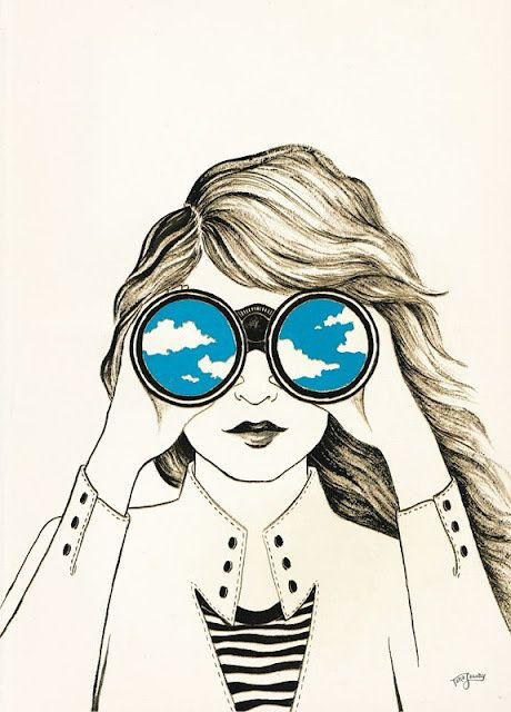 Binóculos dando uma dimensão para os pensamentos e visão da moça surpreendentes. Arte.