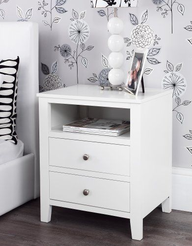 Cream Bedside Tables: Brooklyn Ivory White Bedside Table With 2 Drawers And