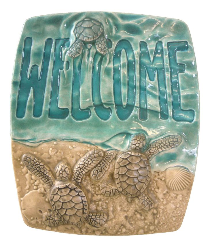 """Art tile, """"Baby sea turtle Welcome""""  ceramic tile,  5x6 inches by MedicineBluffStudio on Etsy"""