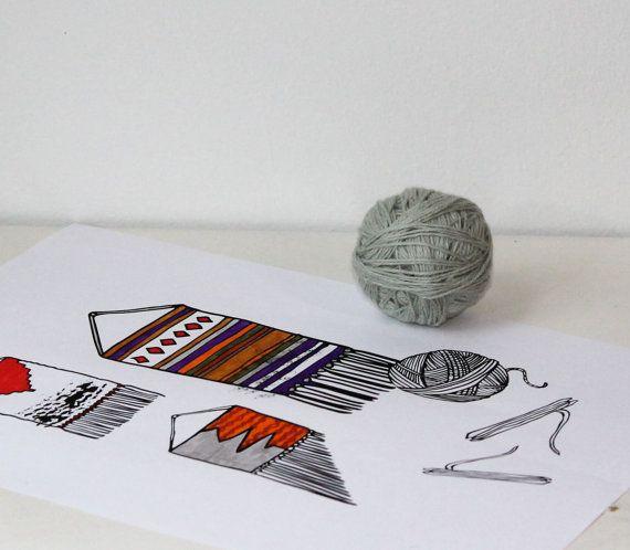 Weaving themed digital art print gift for Etsy by NoctuaryArt
